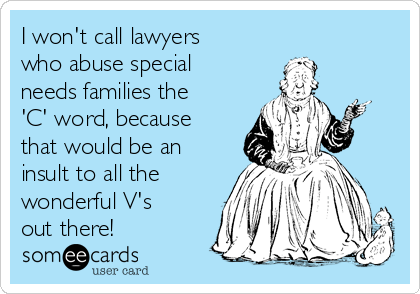 I won't call lawyers who abuse special needs families the 'C' word, because that would be an insult to all the wonderful V's out there!