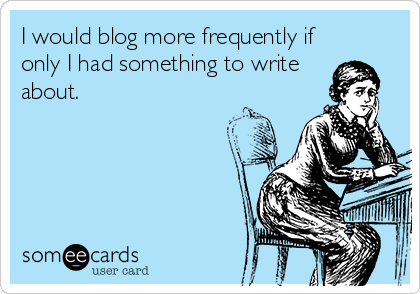 I would blog more frequently if only I had something to write about.