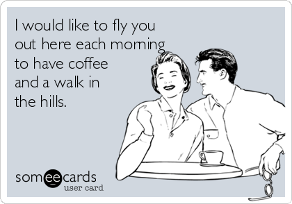 I would like to fly you out here each morning to have coffee and a walk in the hills.