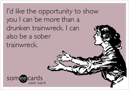 I'd like the opportunity to show you I can be more than a drunken trainwreck. I can also be a sober trainwreck.