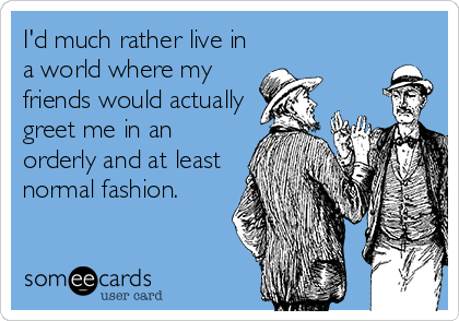 I'd much rather live in a world where my friends would actually greet me in an orderly and at least normal fashion.