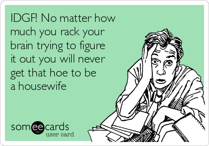 IDGF! No matter how much you rack your brain trying to figure it out you will never get that hoe to be a housewife