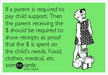 If a parent is required to pay child support. Then the parent receiving the $ should be required to show receipts as proof that the $ is spent on the child's needs. Food, clothes, medical, etc.