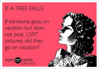 IF A TREE FALLS  If someone goes on vacation but does not post 1,597 pictures, did they go on vacation?