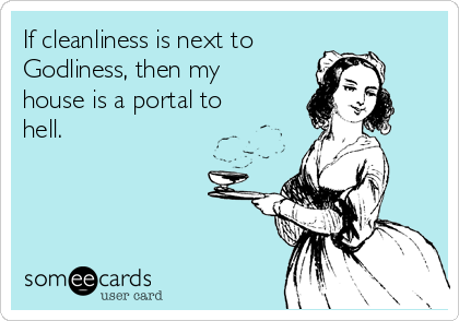 If cleanliness is next to  Godliness, then my house is a portal to hell.