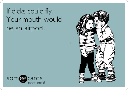 If dicks could fly. Your mouth would be an airport.