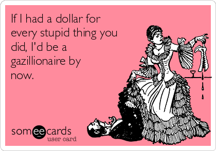 If I had a dollar for every stupid thing you did, I'd be a  gazillionaire by now.