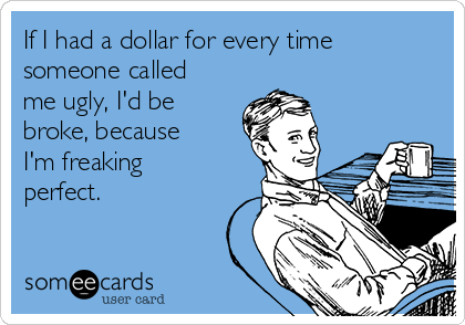 If I had a dollar for every time someone called me ugly, I'd be broke, because I'm freaking perfect.