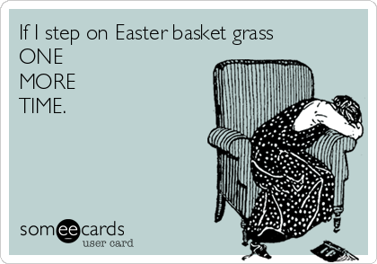 If I step on Easter basket grass ONE MORE TIME.