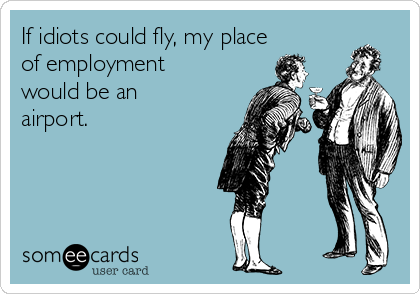 If idiots could fly, my place of employment would be an airport.