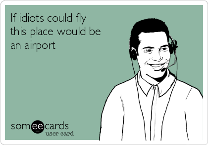If idiots could fly this place would be an airport
