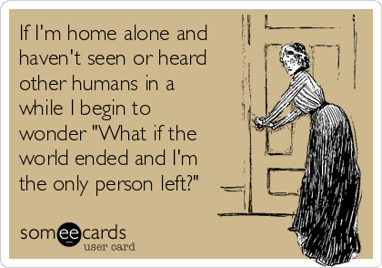 """If I'm home alone and  haven't seen or heard other humans in a while I begin to wonder """"What if the  world ended and I'm the only person left?"""""""