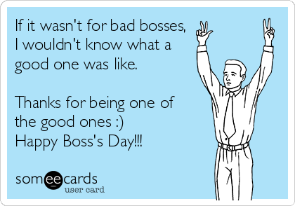 If it wasn't for bad bosses,  I wouldn't know what a good one was like.  Thanks for being one of the good ones :) Happy Boss's Day!!!