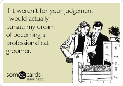 If it weren't for your judgement, I would actually pursue my dream of becoming a professional cat groomer.