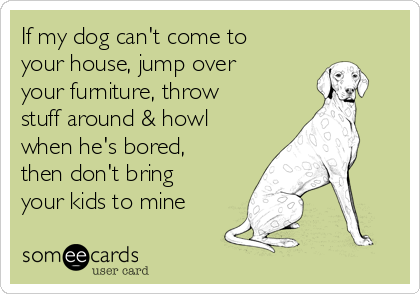 If my dog can't come to your house, jump over your furniture, throw stuff around & howl when he's bored, then don't bring your kids to mine