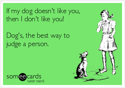 If my dog doesn't like you, then I don't like you!    Dog's, the best way to judge a person.