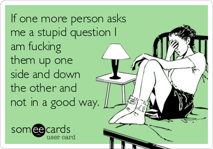If one more person asks me a stupid question I am fucking them up one side and down the other and  not in a good way.