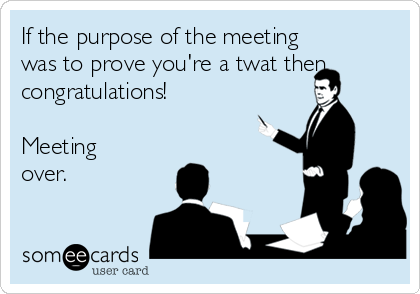 If the purpose of the meeting was to prove you're a twat then congratulations!   Meeting over.