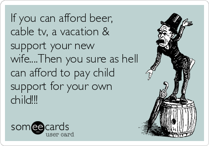 If you can afford beer, cable tv, a vacation & support your new wife....Then you sure as hell can afford to pay child support for your own child!!!