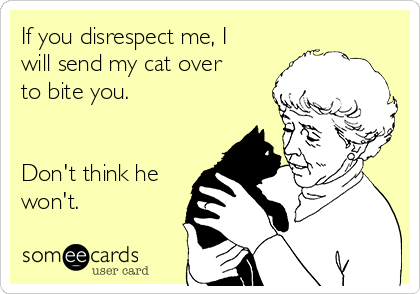 If you disrespect me, I will send my cat over to bite you.   Don't think he won't.