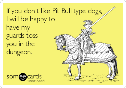 If you don't like Pit Bull type dogs, I will be happy to have my guards toss you in the dungeon.