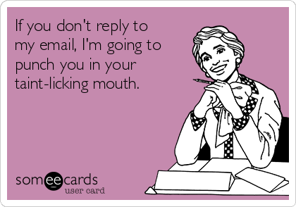 If you don't reply to my email, I'm going to punch you in your taint-licking mouth.