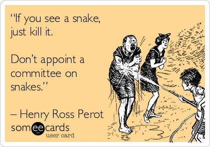 """If you see a snake,  just kill it.   Don't appoint a committee on snakes.""   – Henry Ross Perot"
