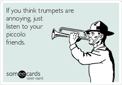 If you think trumpets are annoying, just listen to your piccolo friends.
