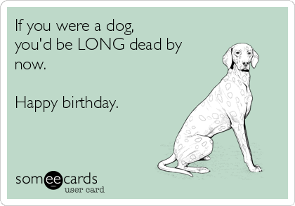 If you were a dog, you'd be LONG dead by now.  Happy birthday.