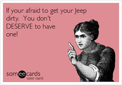 If your afraid to get your Jeep dirty.  You don't DESERVE to have one!