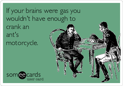 If your brains were gas you wouldn't have enough to crank an ant's motorcycle.