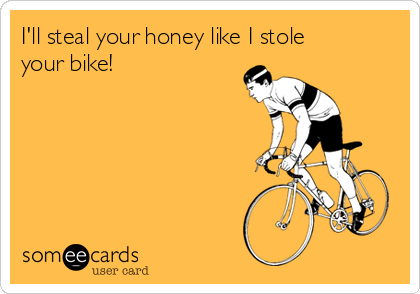 I'll steal your honey like I stole your bike!