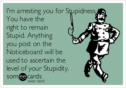 I'm arresting you for Stupidness. You have the right to remain Stupid. Anything you post on the Noticeboard will be used to ascertain the level of your Stupidity.