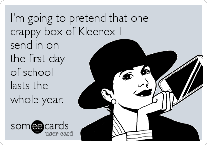 I'm going to pretend that one crappy box of Kleenex I send in on the first day of school lasts the whole year.