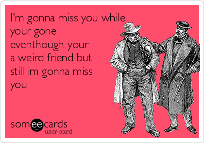 Im Gonna Miss You While Your Gone Eventhough Your A Weird Friend