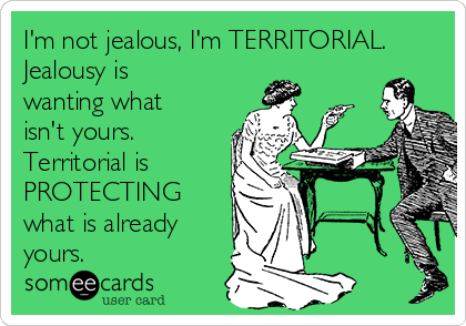 I'm not jealous, I'm TERRITORIAL. Jealousy is wanting what isn't yours. Territorial is PROTECTING what is already yours.