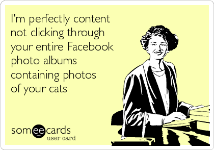I'm perfectly content not clicking through your entire Facebook photo albums containing photos of your cats