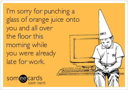 I'm sorry for punching a glass of orange juice onto you and all over the floor this morning while you were already  late for work.