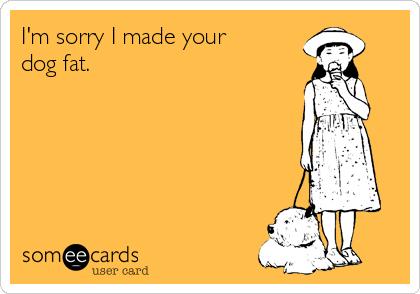 I'm sorry I made your dog fat.