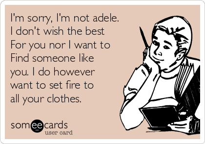 I'm sorry, I'm not adele. I don't wish the best  For you nor I want to  Find someone like you. I do however want to set fire to all your clothes.