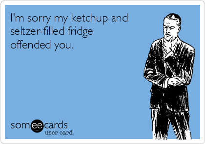 I'm sorry my ketchup and seltzer-filled fridge offended you.