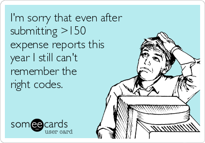I'm sorry that even after submitting >150 expense reports this year I still can't remember the right codes.