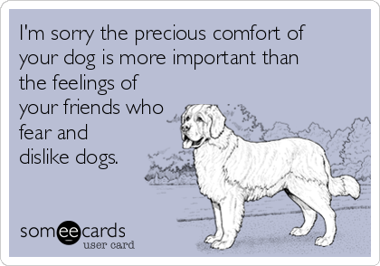 I'm sorry the precious comfort of  your dog is more important than  the feelings of your friends who fear and dislike dogs.