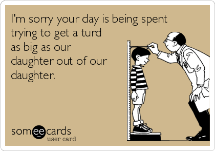 I'm sorry your day is being spent trying to get a turd as big as our daughter out of our daughter.