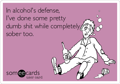 In alcohol's defense, I've done some pretty dumb shit while completely sober too.