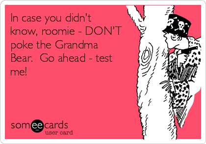 In case you didn't know, roomie - DON'T poke the Grandma Bear.  Go ahead - test me!