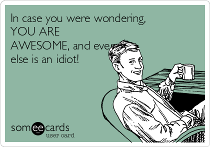 In case you were wondering, YOU ARE AWESOME, and everyone else is an idiot!