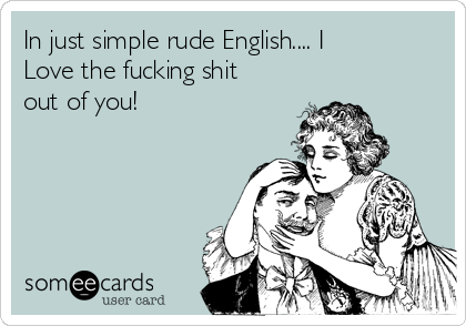 In just simple rude English.... I Love the fucking shit out of you!