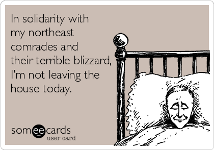 In solidarity with my northeast comrades and their terrible blizzard, I'm not leaving the house today.