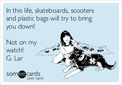In this life, skateboards, scooters and plastic bags will try to bring you down!   Not on my watch!  G. Lar